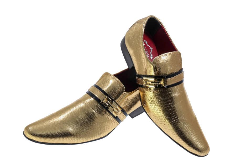7e7f7ed5c Estampado crocodilo dourado com brilho e verniz preto – ITA Comfort