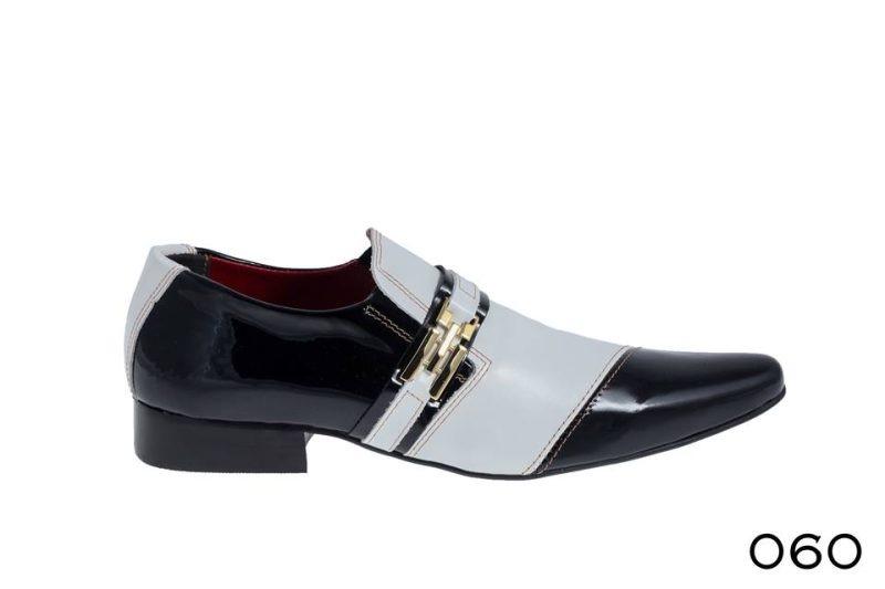 Verniz preto e cromo branco Sapatos sociais para meninos