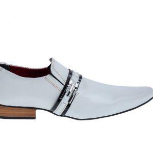 Sapatos masculino Lopes Branco cromo e verniz preto
