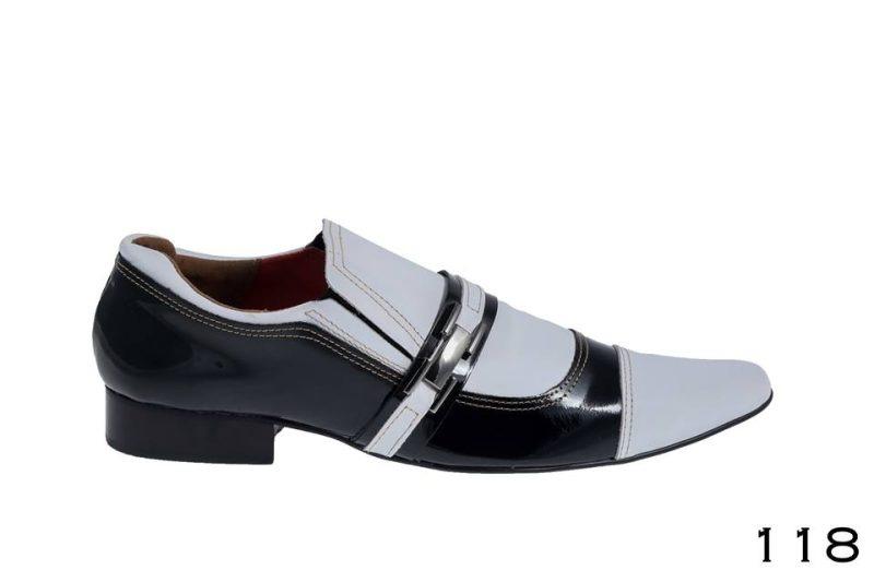 Sapatos sociais masculinos: Verniz preto e branco cromo