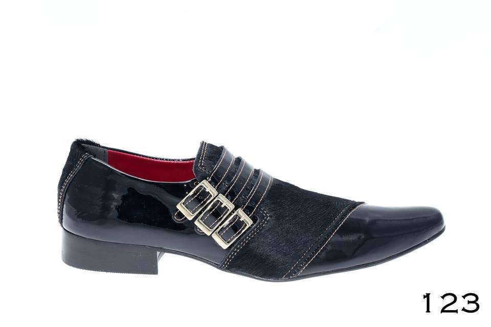 Sapato social masculino Verniz preto e pelo preto
