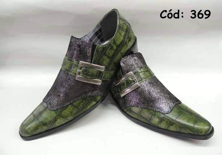 61df8f460 Sapatos social cobra verde e cinza glitter ANZ-369 – ITA Comfort