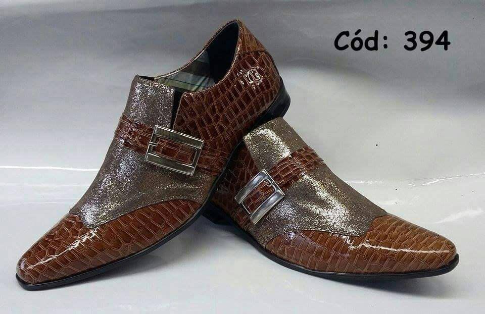 Sapatos masculino social marrom com glitter ANZ-394 - ITA Comfort 59c1b9060f
