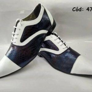 Sapatos sociais branco com crocodilo azul ANZ-470