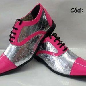 Sapatos sociais rosa com prata ANZ-474
