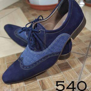 Nobuck azul marinho e couro brim