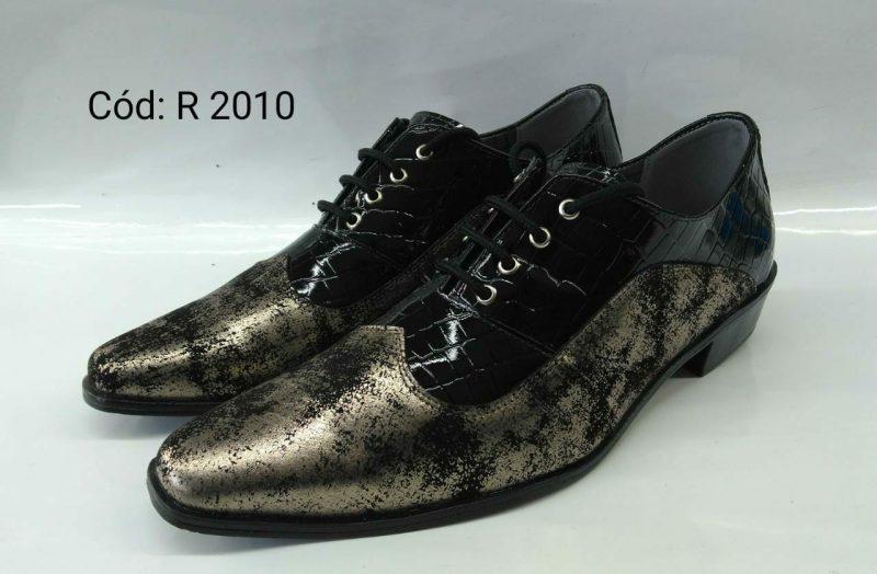 Sapato italiano preto com dourado preto
