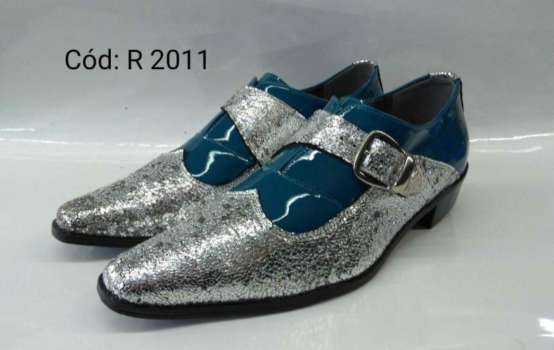 Sapato italiano azul verde com prata brilho