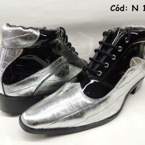 Botas masculinas prata e preto