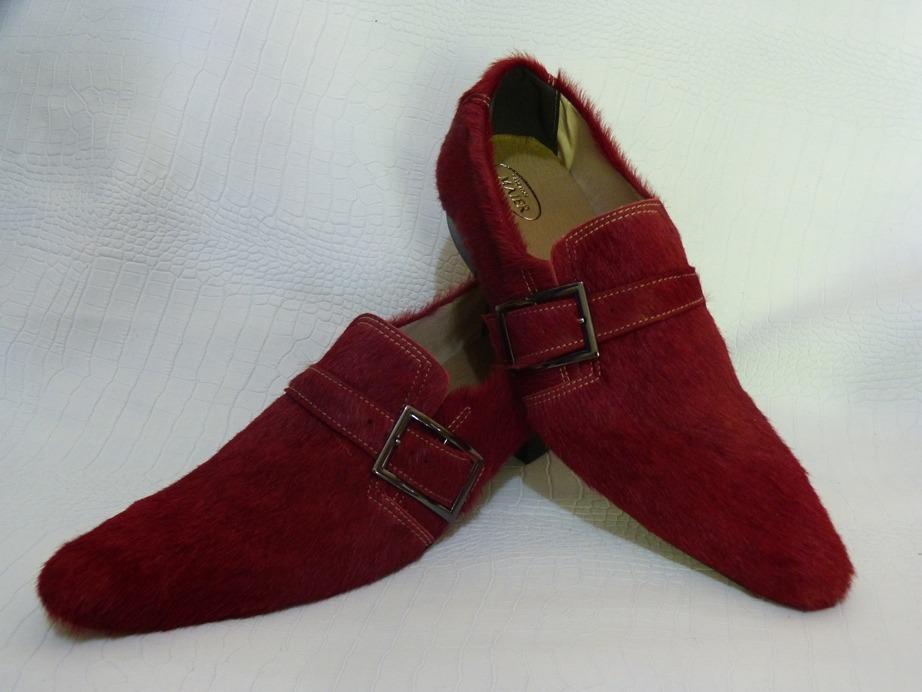Sapatos masculinos veludo vermelho 115