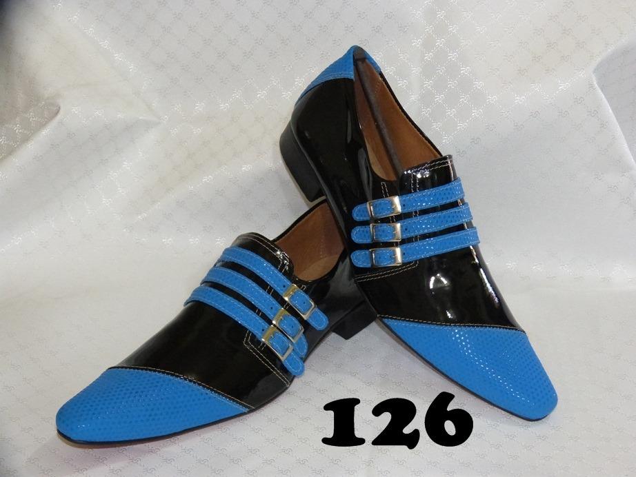 Sapatos social masculinos couro preto e azul
