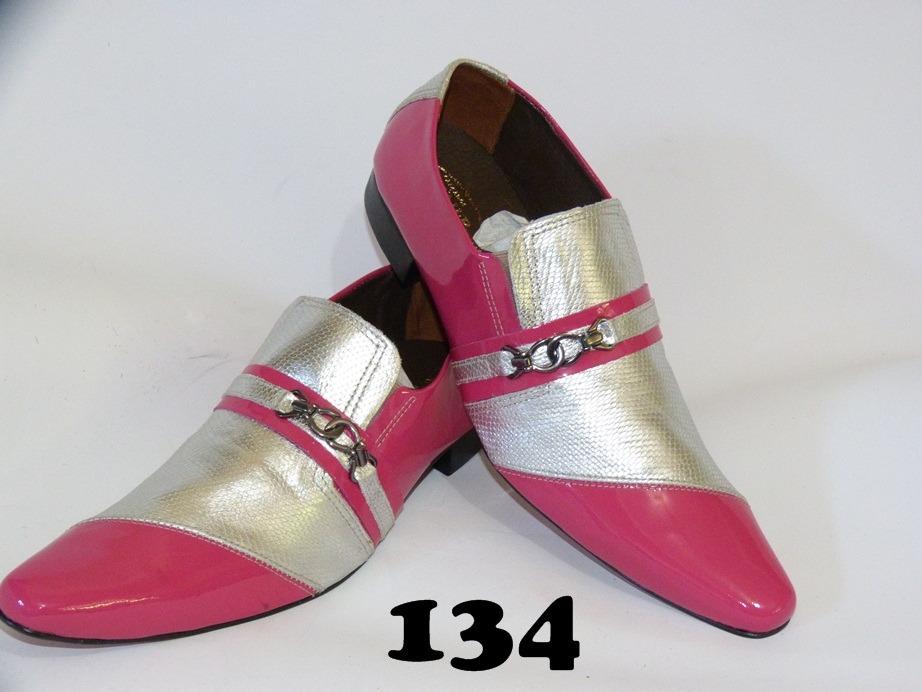 Sapato social masculino couro rosa e prata 134