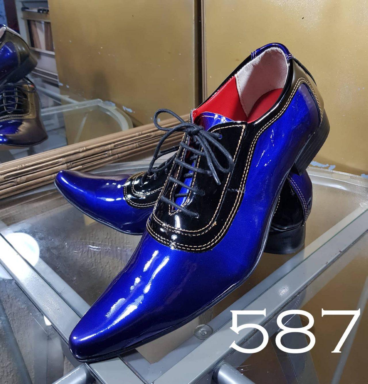 e36de22ba Sapatos sociais verniz azul perolado e verniz preto