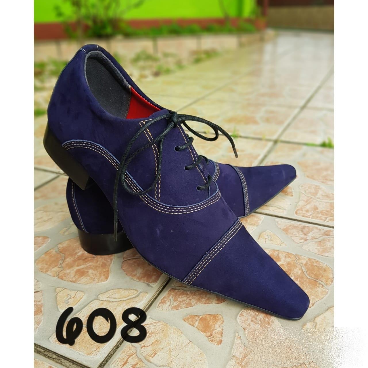 366c41b13 Sapatos sociais masculino cor azul escuro camurça e bico extra fino ...