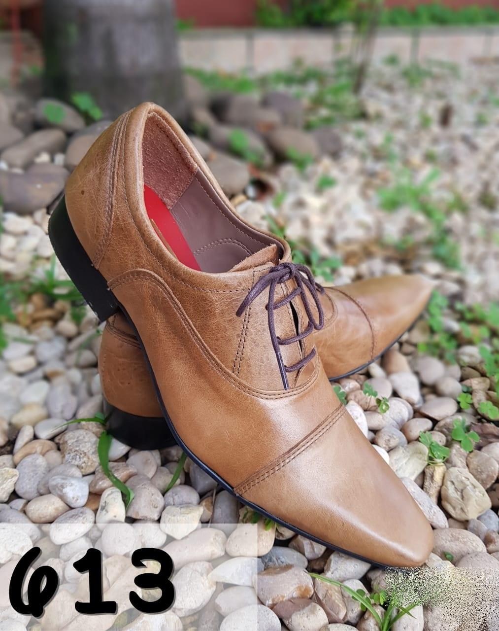 Sapatos sociais masculino cor marrom escovado com bico fino