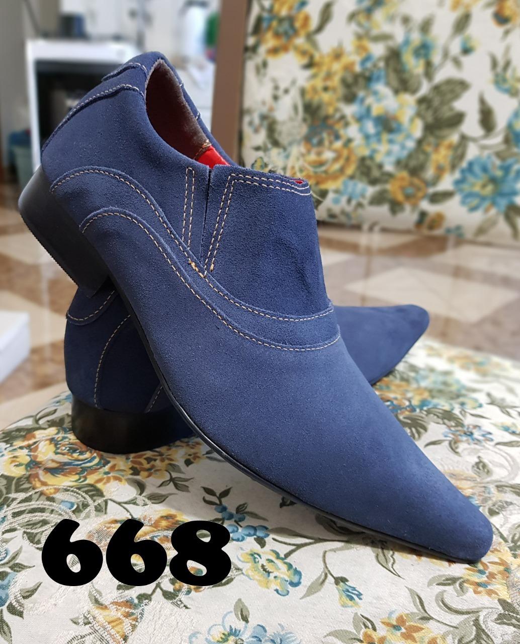 668 Sapatos masculinos nobuck azul ITA Comfort