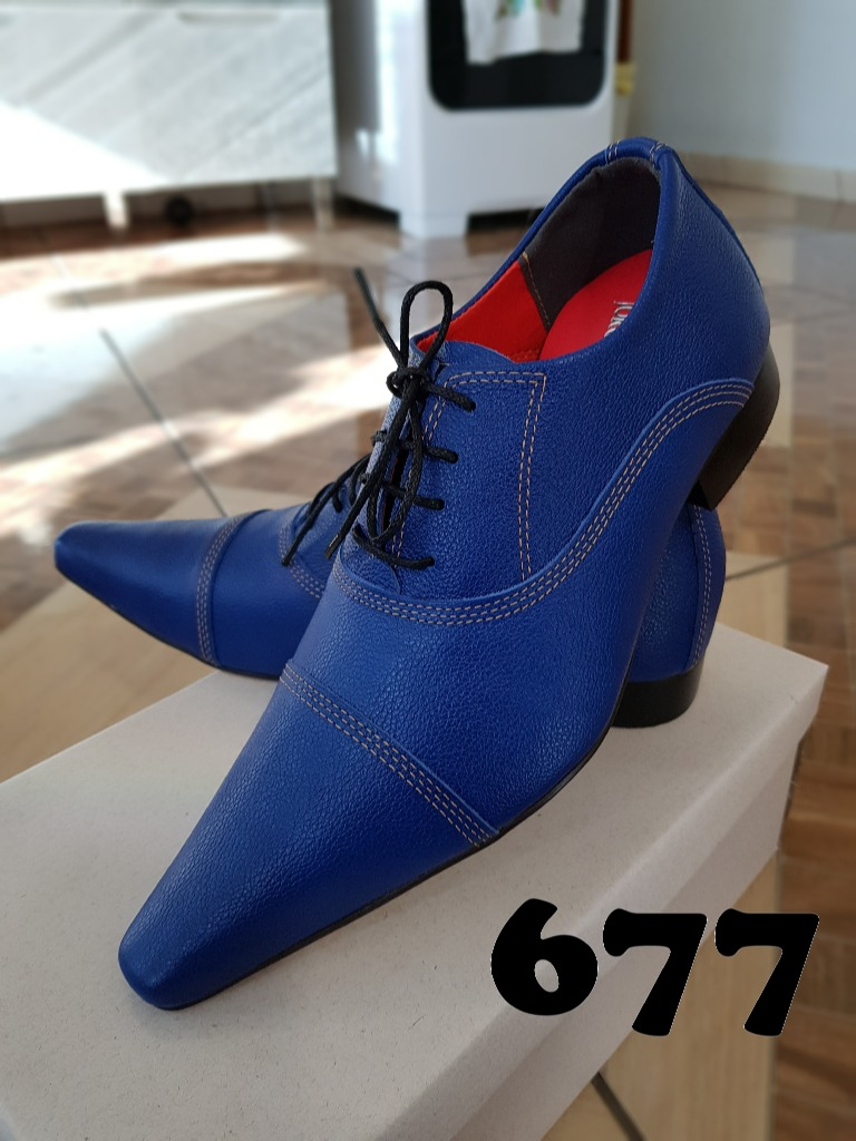 0402f1445 Sapato social masculino marrom azul turquesa 677. Sapato social masculino  marrom ...