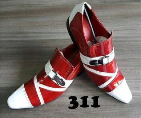 Sapatos sociais sem cadarço em couro verniz vermelho e branco 311