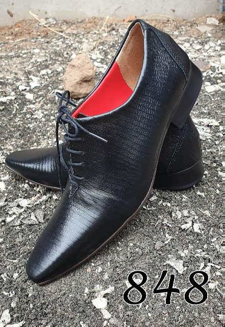 Sapatos sociais com cadarço em couro lesard preto 848