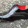 Sapatos sociais com cadarço em couro verniz preto e croco preto 854