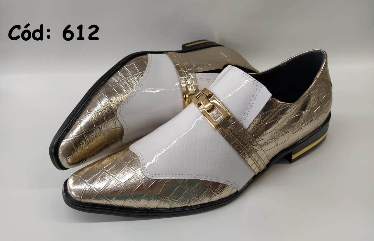 612 Sapatos couro sem cadarços dourado e branco crocodilo ANZ612