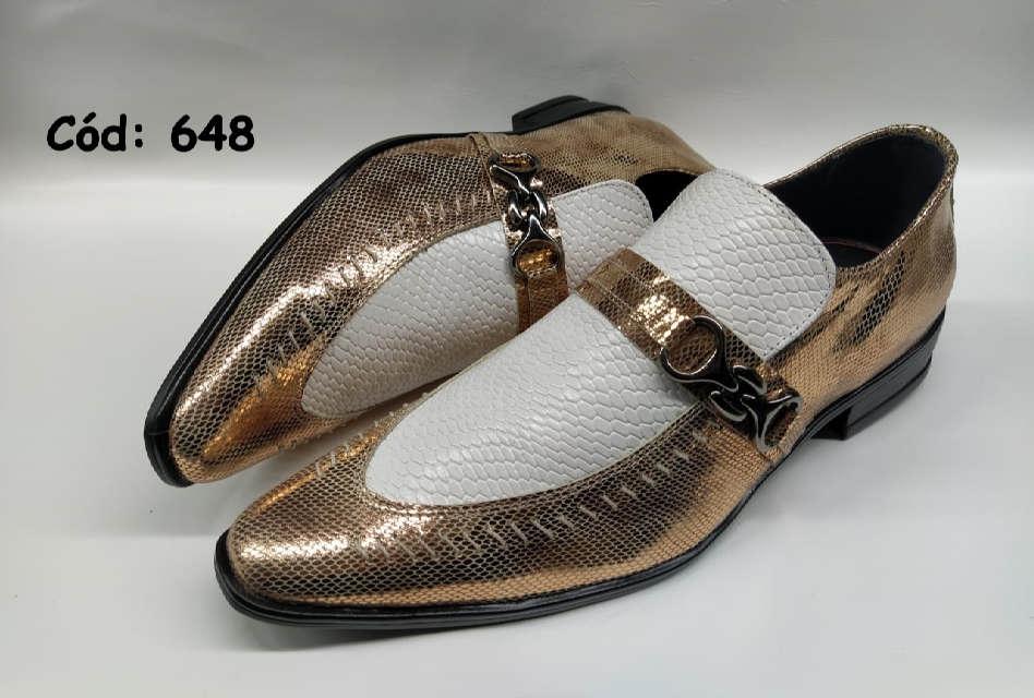 Sapatos sociais masculino em dourado rosa e croco branco ANZ648