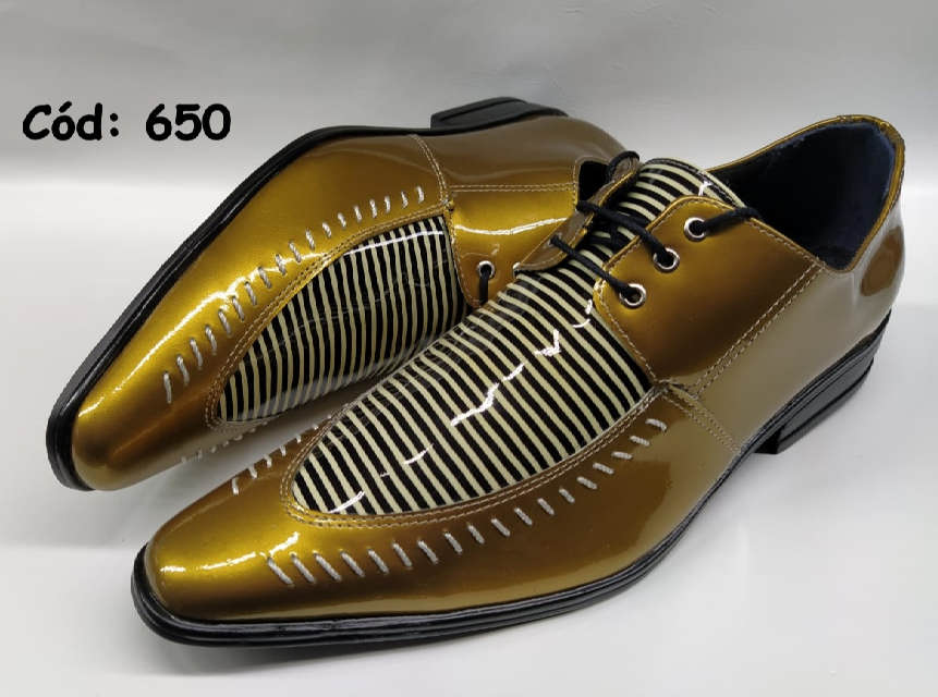 Sapatos sociais masculino em dourado e listras ANZ650