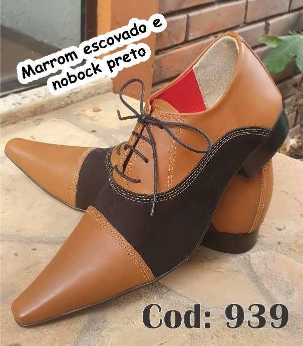 Sapatos sociais com cadarço em couro marrom escovado e nobuck preto