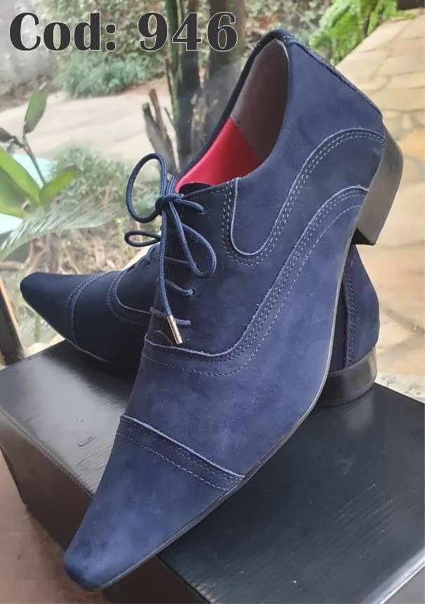 Sapatos sociais com cadarço em nobuck azul