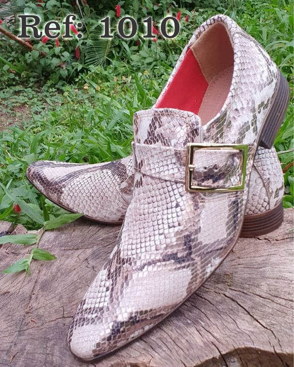 Sapatos sociais sem cadarço em couro estilo cobra marrom 1010