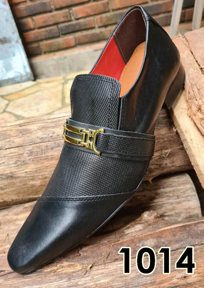 Sapatos sociais sem cadarço em couro estilo preto cromo e trice muido 1014
