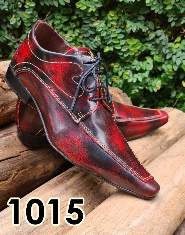 Sapatos sociais com cadarço em couro estilo inflamado vermelho 1015