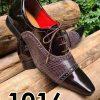 Sapatos sociais com cadarço em couro estilo verniz marrom e croco marrom 1016