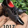 Sapatos sociais com cadarço em couro estilo verniz preto e miudo preto 1017