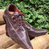 Sapatos sociais com cadarço em couro estilo croco marrom 1027