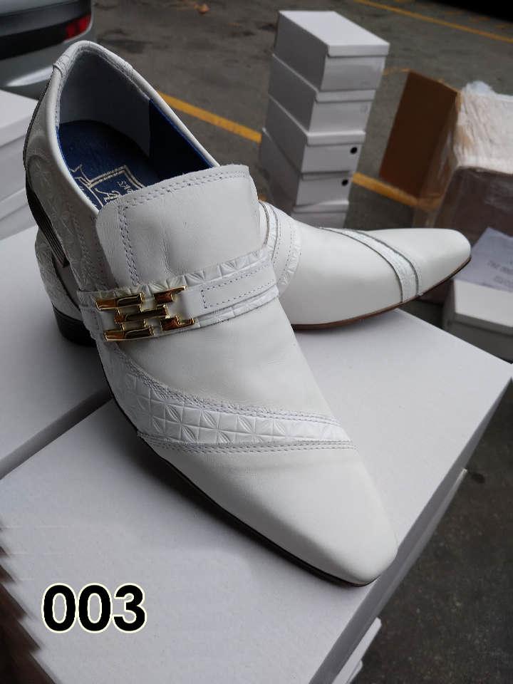 Sapatos sociais sem cadarço em couro branco e cromo branco 003