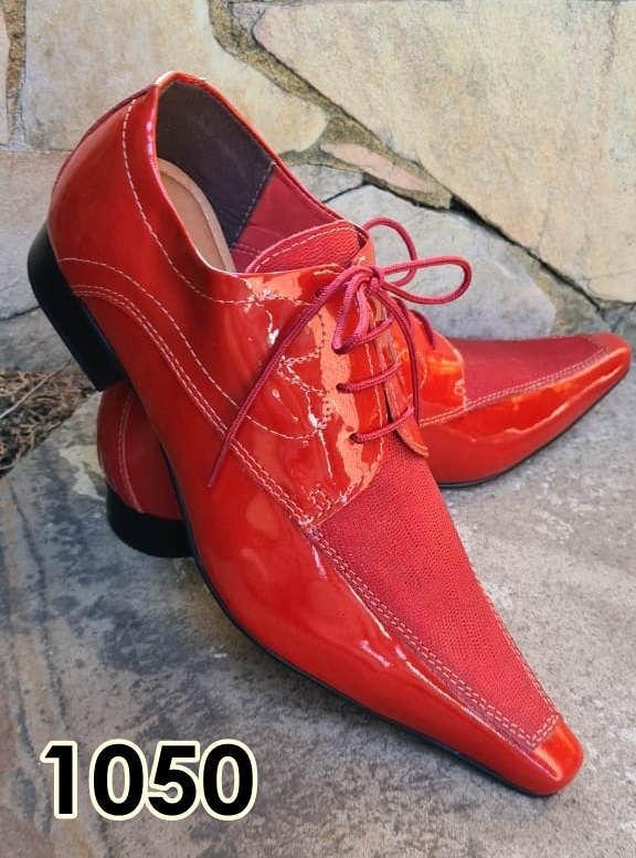 Sapatos sociais com cadarço em couro vermelho e camurça vermelho 1050