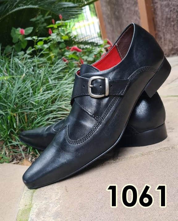 Sapatos monge sociais sem cadarço em couro escovado preto 1061