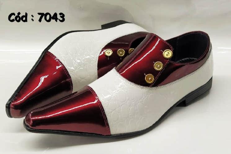 Sapatos sociais em couro vermelho e branco anz7043