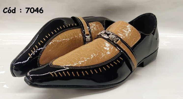 Sapatos sociais em couro preto verniz e marrom crocodilo