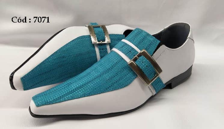 Sapatos sociais em couro branco e azul anz7071