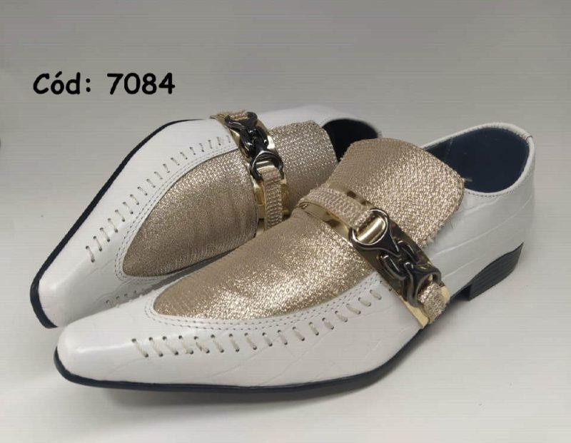 Sapatos sociais em couro branco croco com dourado anz7084