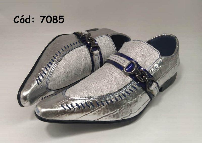 Sapatos sociais em couro prata croco com dourado anz7085