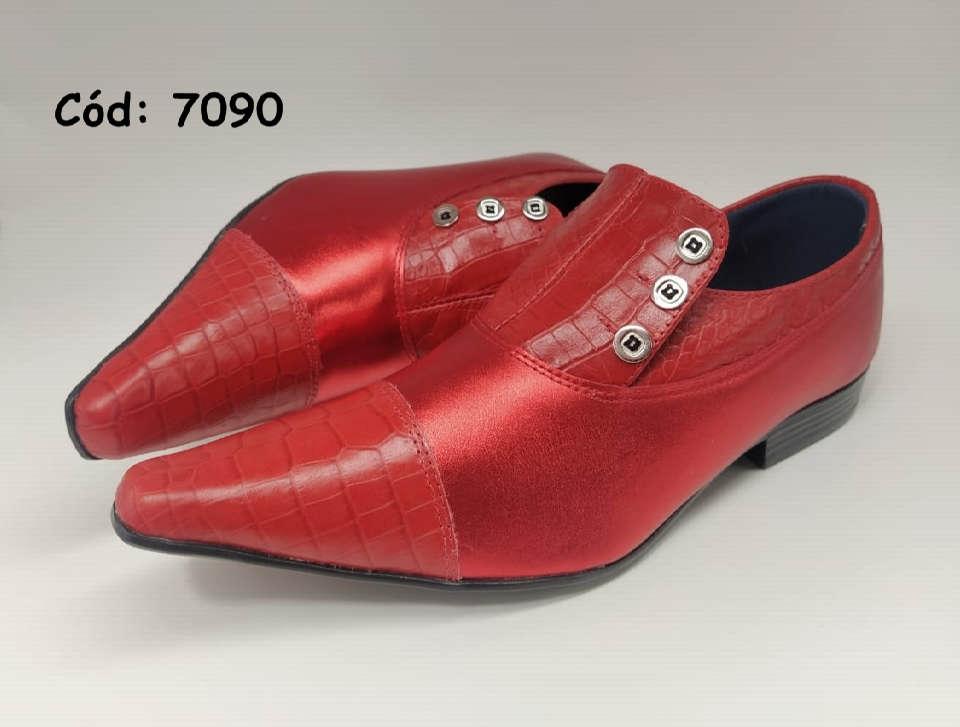 Sapatos sociais em couro croco vermelho anz7090