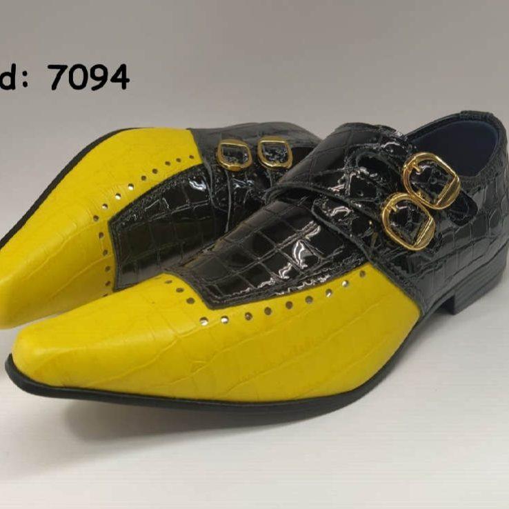 Sapatos sociais monge em couro croco preto e croco amarelo anz7094