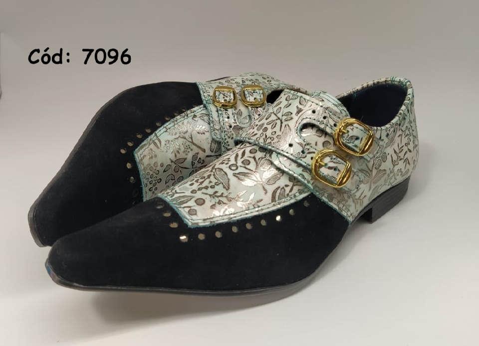 Sapatos sociais monge em nobuck preto e couro detalhes dourado anz7096