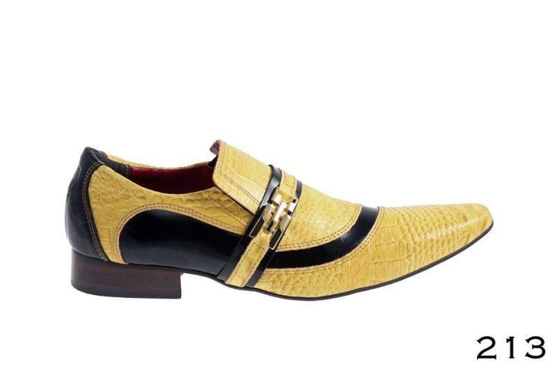 Crocodilo amarelo e detalhe preto verniz