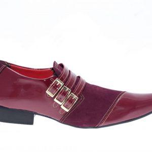493 Sapatos masculino Lopes Nubuck bordo com verniz vinho