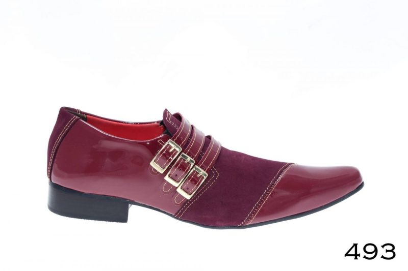 493 Sapatos masculino Peters PREMIUM: Nubuck bordo com verniz vinho