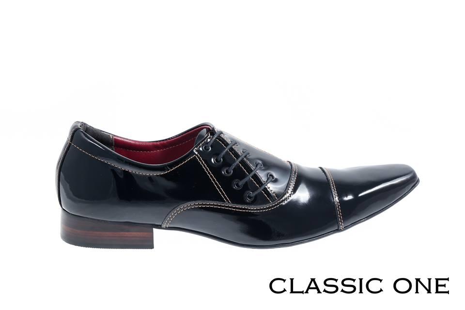 classic one verniz preto e cadarço lateral